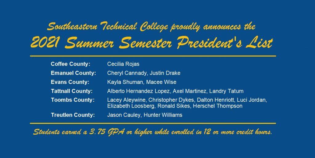 Summer 2021 President's List